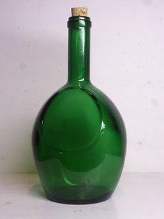 Vintage Gayner Green Glass Cork Stopper Decorative Wine Bottle G in Circle 2 G 3  $4.99