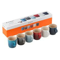 Perfect as a gift or treat for yourself, this set of six espresso mugs brings a touch of coastal living to the home. Crafted with a robust, high quality finish, and come in one of each colour: Marseille Blue, Flint, Coastal Blue, Cerise, Cotton and Ink. Presented in a stylish gift box, they are the perfect mugs for coffee drinking. [Le Creuset set of six Espresso Mugs]