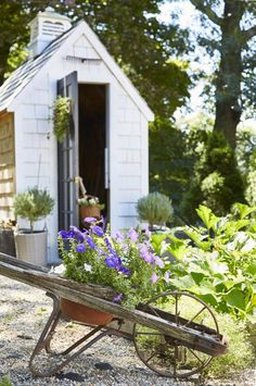 Charming French farmhouse style garden shed at home of Amy of Maison Decor. Featured in Nora Murphy's Country Style book. #gardenshed #romanticdecor #gardeninspiration #frenchcountry #maisondecor #cottagestyle #cottagegarden