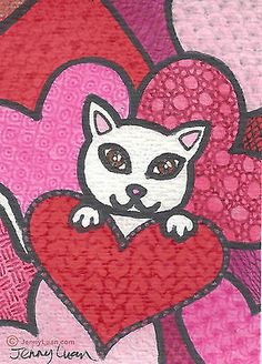 ACEO orginal Zentangle Valentine heart cat by Jenny Luan