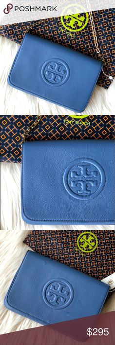 """✨NEW TORY BURCH✨ CONVERTIBLE SHOULDER/CLUTCH BAG ✨NEW WITH TAG✨  TORY BURCH BOMBE CONVERTIBLE CLUTCH/ SHOULDER BAG. COLOR: WALLIS BLUE  -PEBBLED LEATHER -GOLDEN HARDWARE  -REMOVABLE CHAIN STRAP -STRAP DROP: 8"""" -FRONT FLAP WITH MAGNETIC SNAP CLOSURE  -ONE OUTSIDE ZIP POCKET UNDER FLAP -THREE INSIDE SLIP POCKET -LOGO JACQUARD LINING  10.25""""W x 7""""H x 1"""" D  DUST BAG NOT INCLUDED Tory Burch Bags"""