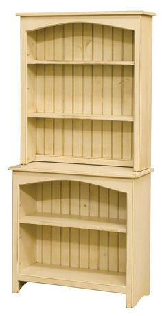 "Bookcase With Hutch  is handmade by the Amish.  Your piece will be built with Premium Grade Eastern White Pine wood.  You will see some deformities and knots that come naturally with eastern pine.  Measures: 32"" W x 66"" H x 12.75 D Shown in Buttermilk"