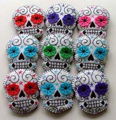 Rockabilly Wedding Boutonnieres Custom Made Sugar Skulls
