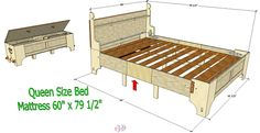 Queen Size Bed - Plans also available in Double.