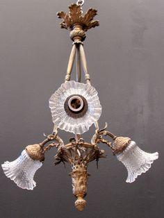 1940s lampadario Art Deco Barovier Chandelier Murano floral Glass six ...