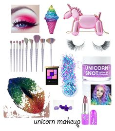 """""""Untitled #2230"""" by christawallace ❤ liked on Polyvore featuring beauty, Kate Spade, FCTRY, Unicorn Lashes, In Your Dreams, Yves Saint Laurent, Iscream and unicornmakeup"""