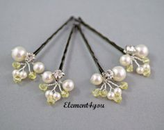 Set of 6 Fall Bridal Hair Bobby Clips Bridesmaid by Element4you