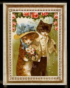 Wedding Cats Miniature Dollhouse Picture by MyDollhousePictures, $10.95