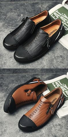 Men shoes casual genuine leather shoes mens leisure flats slip on vintage h Casual Leather Shoes, Leather Sandals, Casual Shoes, Patent Leather, Brown Leather, Men's Shoes, Shoe Boots, Dress Shoes, Shoes Men