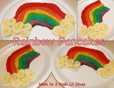 Rainbow pancakes with banana clouds!