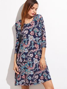 Shop Navy Floral Print 3/4 sleeve Shift Dress online. SheIn offers Navy Floral Print 3/4 sleeve Shift Dress & more to fit your fashionable needs.