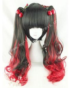 Black Red Curls Lolita Wig 50cm Long #lolita  #wig