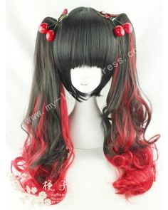 Black Red Curls Lolita Wig 50cm Long #lolita  #wig