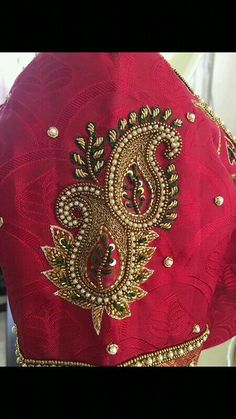 Kids Blouse Designs, Hand Work Blouse Design, Simple Blouse Designs, Blouse Designs Silk, Wedding Saree Blouse Designs, Maggam Work Designs, Paisley, Embroidery Fashion, Hand Embroidery Designs