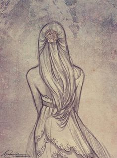 drawing back of a girl