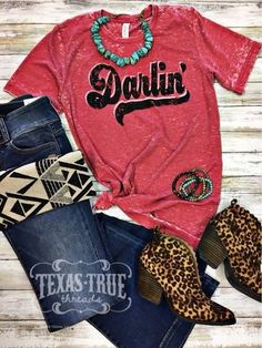 Darlin printed on Red Acid Wash Bella-Canvas Unisex Tee Cute Cowgirl Outfits, Country Style Outfits, Southern Outfits, Rodeo Outfits, Country Fashion, Casual Dress Outfits, Western Outfits, Western Wear, Cute Outfits