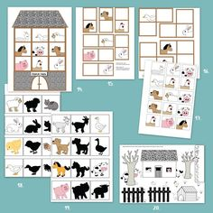 Letölthető állatos feladatlapok óvodásoknak Educational Toys For Kids, Printable Worksheets, Pre School, Kindergarten, Gallery Wall, Diagram, Holiday Decor, Creative, Maths