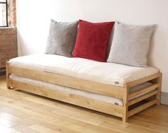 Futon Bed - Futons and sofa beds come in a variety of materials and designs. Consider a faux leather option for a stylish, modern look Build A Murphy Bed, Murphy Bed Plans, Futon Mattress, Futon Sofa, Sofa Beds, Daybed, Futon Bedroom, Pallet Furniture, Master Bedrooms