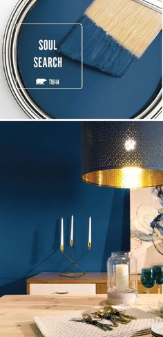 The dark blue hue of Soul Search by BEHR Paint is just what your home needs. This chic dining room uses metallic gold accents to complement the bold wall color. Light wood furniture completes the stylish look. Learn more by clicking here. by tamara Design Seeds, Paint Colors For Home, House Colors, Behr Paint Colors, Blue Wall Colors, Dark Paint Colors, Accent Wall Colors, Blue Accent Walls, Room Wall Colors