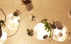 luminária com flores