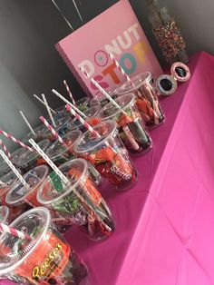Donut Birthday Party Ideas Photo 7 of 12 Catch My Party Donut Birthday Party Ideas Photo 7 of 12 Catch My Party Birthday Sleepover Ideas, Sleepover Food, Donut Birthday Parties, Birthday Party For Teens, Donut Party, 14th Birthday, Sweet 16 Birthday, Teen Birthday, 16 Birthday Gifts