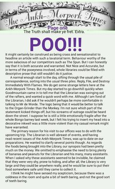 The Ankh-Morpork Times. The Truth shall make ye fret. Extra. POO!!!. Page one. by David Green 12 May 2016