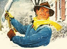 Snow Shoveling - detail from 1947 Pan American Coffee ad.