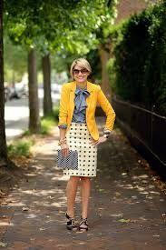 Mustard over chambray + polka dot pencil skirt