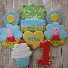 """""""Peppa Pig 1st Birthday Cookies #flourishcakes #peppapig"""" Pig Cupcakes, Pig Cookies, Cookies For Kids, Cute Cookies, Sugar Cookies, Pig Birthday, Birthday Cookies, 2nd Birthday Parties, Birthday Ideas"""