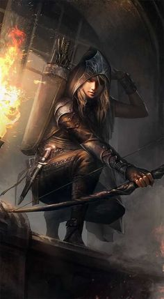 This is my concept character illustration for a female rogue wood elf in the dungeons and dragons edition fantasy rpg board game. Fantasy Warrior, Fantasy Girl, Fantasy Women, Fantasy Character Design, Character Inspiration, Character Art, Character Concept, World Of Warriors, Female Warriors