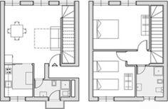 Este es el plano de la casa de mis sueños. La imagen a la izquierda es el plano de la planta baja, la imagen a la derecha es la de la primera planta. En la planta baja se encuentra una pequeña entrada que conduce al salón.  A la izquierda de la entrada hay el cuatro de baño y la cocina; a la derecha de la entrada hay las escaleras para subir a la planta superior. En la planta superior se encuentran dos dormitorios y un cuarto de baño. Al exterior de la casa hay un pequeño jardín y las…
