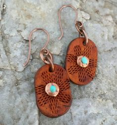 Turquoise and Copper Flower Earrings - Hand Tooled Leather Earrings - Oval Earrings - Western Jewelry - Cowgirl Jewelry