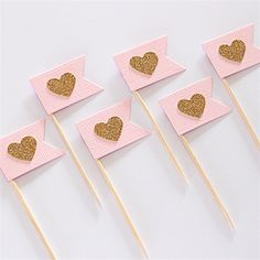 Flag Banner Heart Cupcake Toppers / Food picks Baby Pink Gold Glitter Set of 12