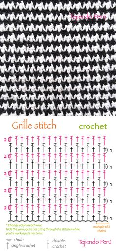 Crochet: grille stitch or pied de poule diagram (pattern or chart)! ciekawy na szal Crochet grille stitch diagram that has a kinda sorta jacquard'y look to it. I may be reading it wrong but looks like you just keep reversing how two basic stitches sit ove Crochet Diy, Crochet Stitches Free, Bonnet Crochet, Crochet Motifs, Crochet Diagram, Crochet Chart, Love Crochet, Single Crochet, Diagram Chart