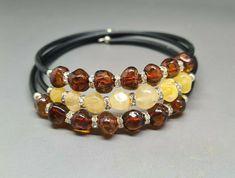 Genuine Real Baltic Amber Bracelet Citrine/Cognac Memory wire #Amber #Beaded