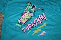 Vtg 80's Deadstock THIN Skateboarding Skateboard THRASHIN' T Shirt Large Movie? #GraphicTee #Casual