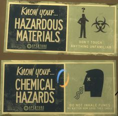 Aperture Laboratories Warning Signs - should use in my lab manual...