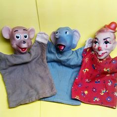 100A Series hand puppets made by Hazelle's Marionettes. Baby Bear, Elephant, Bobo the Clown.
