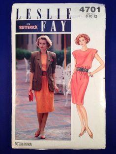 Leslie Fay Sheath Dress and Jacket Size 8 10 12 Uncut Butterick Pattern 4701 FF  #Butterick