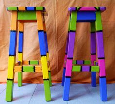 For Sale Chairs And Tables Whimsical Painted Furniture, Hand Painted Chairs, Painted Stools, Wooden Stools, Hand Painted Furniture, Funky Furniture, Recycled Furniture, Colorful Furniture, Paint Furniture