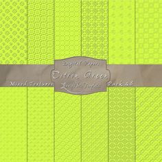 Complex Mix of Pattern Textures in Citron Green – Digital Paper Pack 48