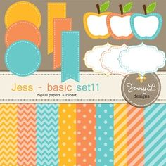 These Digital Papers and Label Cliparts Basic Set 11, Teacher Sellers Kit, Apple labels in orange, yellow gold, turquoise are ideal for creating various art projects, classroom decors, teaching materials, digital scrapbooking, making invitations, other creative fun projects at school or home. ----------------------------------------------------------------------------- ~ 9 pcs.  12 x 12 inches digital background papers (.jpg ) (chevron, circles, strips)~ 12 labels - 4 designs in 3 different…