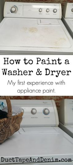 How to paint a washer and dryer. My first experience with appliance paint. Washing machine makeover! http://DuctTapeAndDenim.com