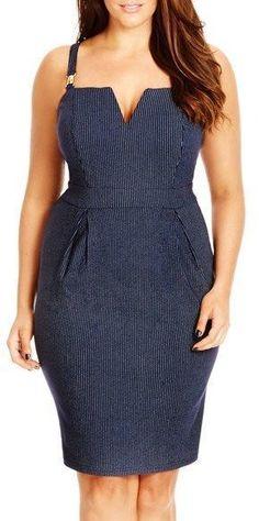 Plus Size Pinstripe Notch Neck Sheath Dress