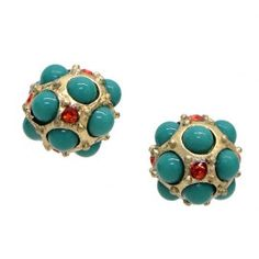 turquoise ball studs