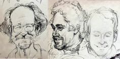 Iain McCaig draws portraits of James Warhola, Barry Klugerman, and James Gurney.