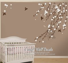 cherry blossom birds nursery wall decals tree vinyl wall decals decal children wall sticker nursery room- flower bird by cuma Wall Stickers Vines, Nursery Wall Stickers, Flower Wall Stickers, Vinyl Wall Decals, Bird Nursery, Nursery Room, Baby Room, Bedroom, Baby Decor