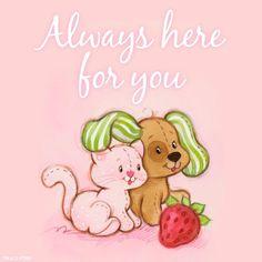 "Strawberry Shortcake: Pupcake and Custard ""Just for you. Strawberry Shortcake Cartoon, Strawberry Art, Strawberry Fields, 90s Childhood, Childhood Memories, Cute Little Girls, My Little Pony, Disney Viejo, Dibujos Cute"
