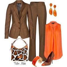 """Orange and Brown Office Attire"" by taliormade on Polyvore"