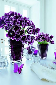 Eye Vases by Baccarat  The Eye vase collection features a wavelike pattern from the outside horizontal cuts and inside vertical cuts, creating a dazzling visual effect. This combination of beveled cuts in creates a playground where light moves in constant variations. #purple #violet #butterfly #tulips #vases #baccarat #crystal #flowers #beauty #luxury #quality #statementpiece #elegance #chic #centerpiece #homedecor #interiordesign #design #art #vancouver #vancity #bc #yvr #home #contemporary